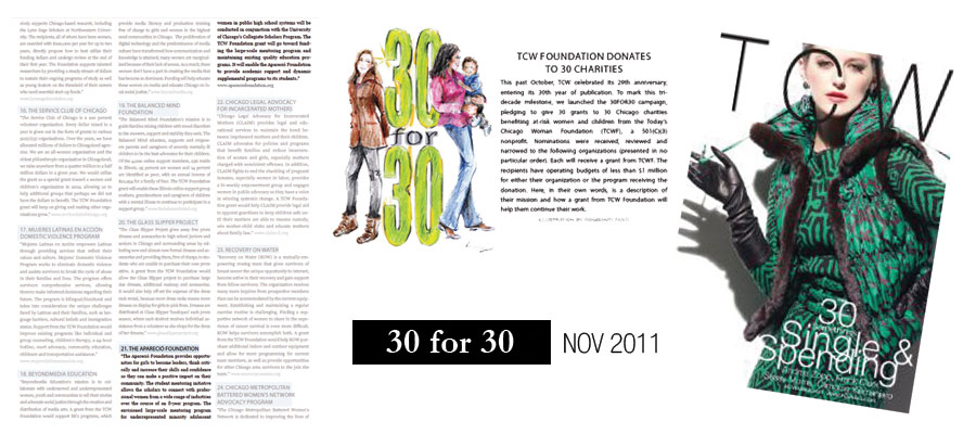 Today's Chicago Woman. 30 for 30 Grant. November 2011.